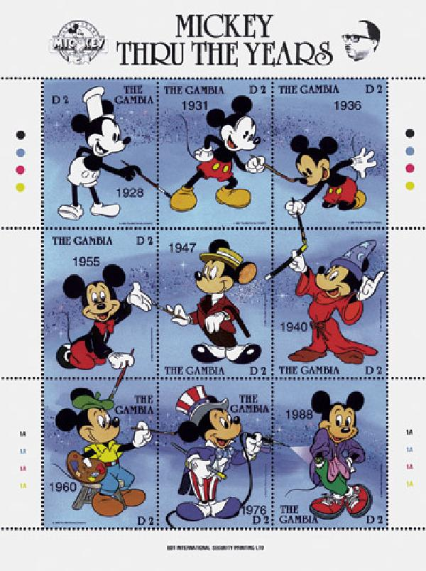 Gambia Mickey Mouse Thru The Years For Sale At Mystic Stamp Company