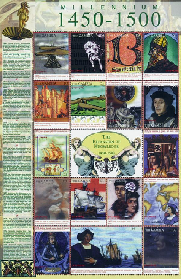 "Millennium, ""The Expansion of Knowledge"", Mint Sheet of 17 Stamps, Gambia"