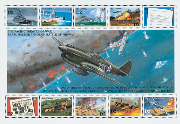 World War II Pearl Harbor to The Battle of Midway, Mint, Sheet of 10 Stamps, Gambia