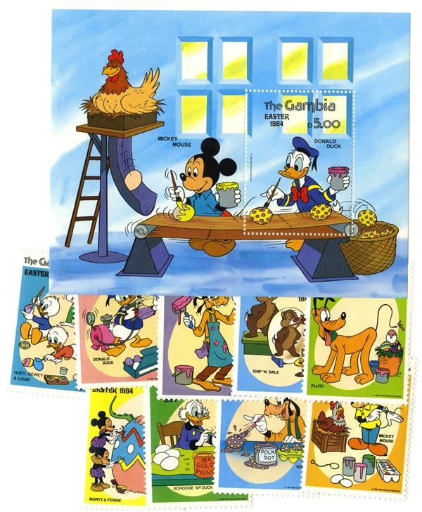 1984 Disney Friends Celebrate Easter, Mint, Set of 9 Stamps and Souvenir Sheet, Gambia