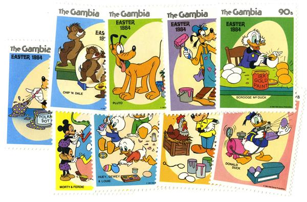 Gambia 1984 Painting Eggs, 9 Mint Stamps