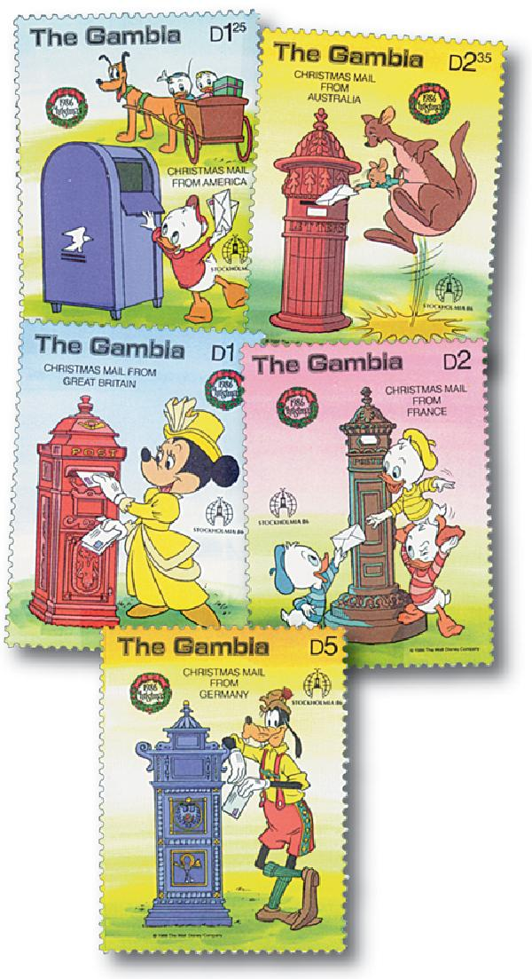 Gambia 1986 Mailing Letters, 5 Stamps