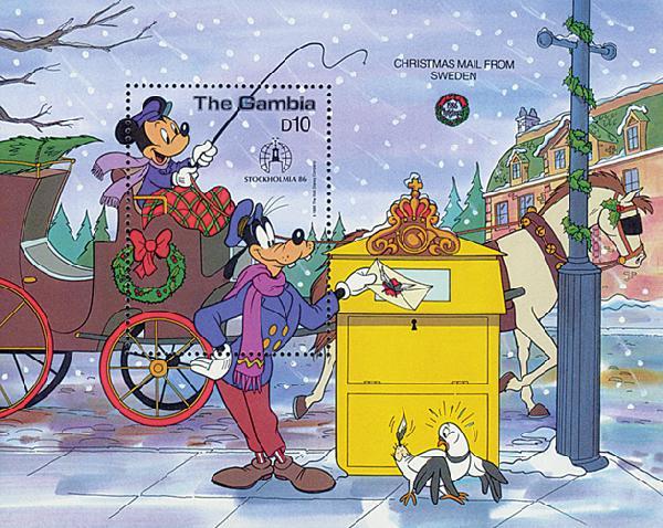 1986 Disney Friends At STOCKHOLMIA Mint Souvenir Sheet, Gambia