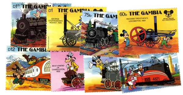 Gambia 1987 Locomotives, 8 Mint Stamps