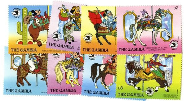Gambia 1989 Carousel horses, 8 Stamps