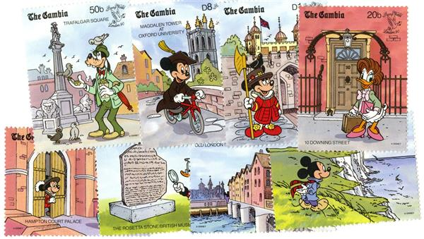 Gambia 1990 Disney in England, 8 Stamps