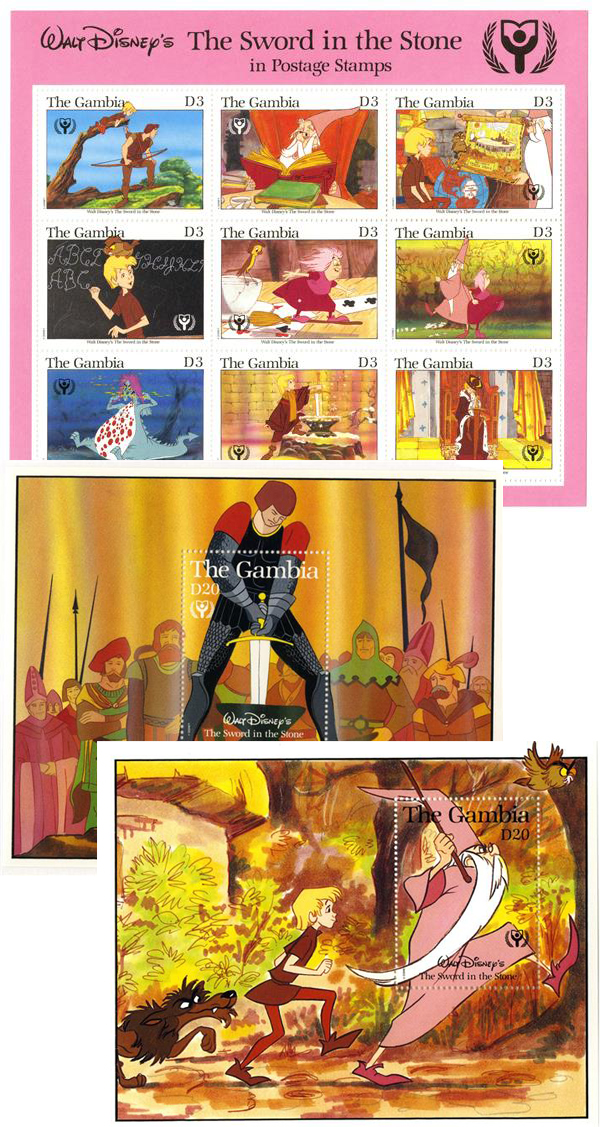 1991 Disney Commemorates International Literacy Year, Mint Sheet of 9 and 2 Souvenir Sheets, Gambia