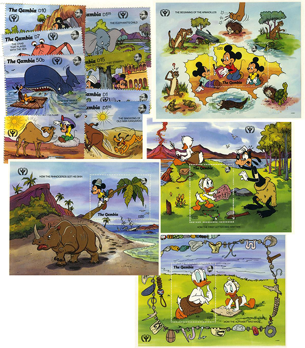 1991 Disney Commemorates International Literacy Year, Mint, Set of 8 Stamps and 4 Souvenir Sheets, Gambia