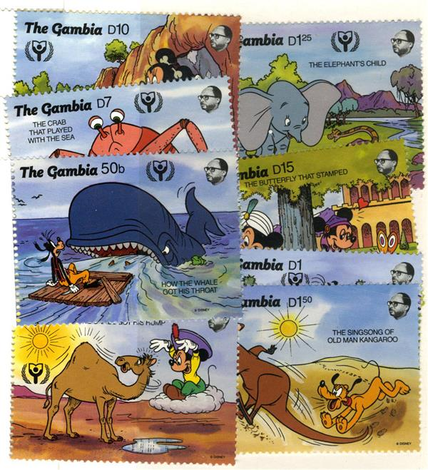 1991 Disney Commemorates International Literacy Year, Mint, Set of 8 Stamps, Gambia