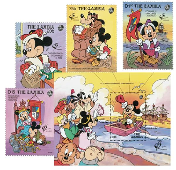 1992 Disney Commemorates 500th Anniversary of Columbus Voyage, Mint, Set of 4 Stamps and Souvenir Sheet, Gambia