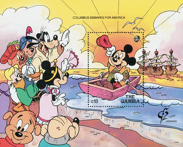 1992 Disney Commemorates 500th Anniversary of Columbus Voyage, Mint Souvenir Sheet, Gambia