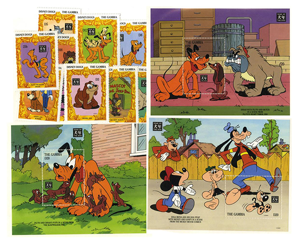 1994 Disney Celebrates The Chinese New Year - Year of the Dog, Mint, Set of 12 Stamps and 3 Souvenir Sheets, Gambia