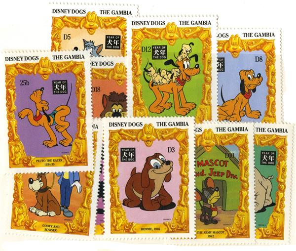 1994 Disney Celebrates The Chinese New Year - Year of the Dog, Mint, Set of 12 Stamps, Gambia