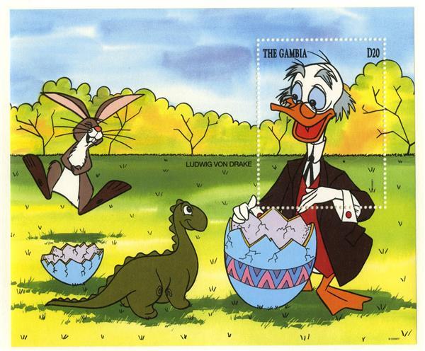 1994 Disney Celebrates Easter, Mint Souvenir Sheet, Gambia