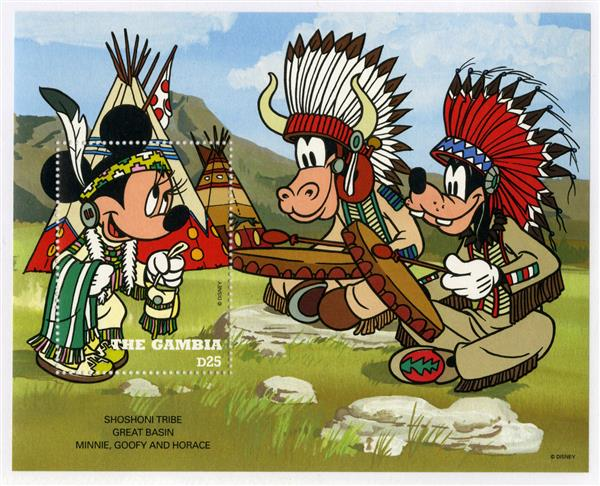 1995 Disney Friends Play Cowboys and Indians, Mint Souvenir Sheet, Gambia