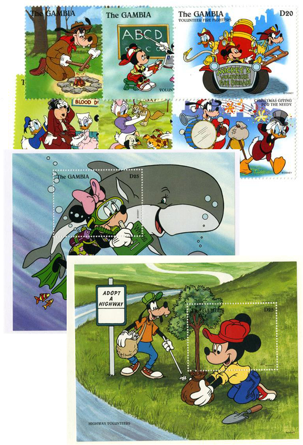 1996 Disney Friends Helping Others, Mint, Set of 6 Stamps and 2 Souvenir Sheets, Gambia