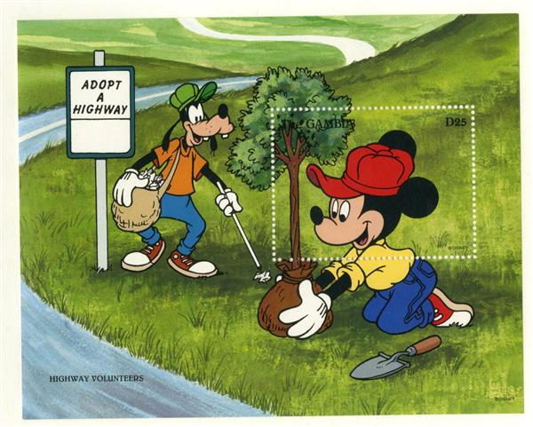1996 Disney Friends Helping Others, Mint Souvenir Sheet, Gambia