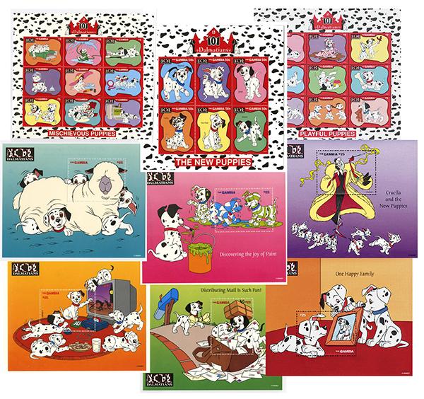 1997 Disneys 101 Dalmatians, Mint, Set of 3 Sheets and 6 Souvenir Sheets, Gambia
