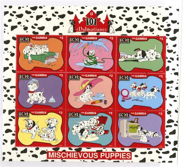 Gambia 1997 Mischievous Puppies 9 Stamps