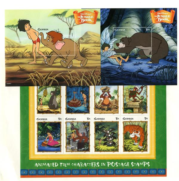 1998 Disneys The Jungle Book, Mint, Sheet of 8 Stamps and 2 Souvenir Sheets, Gambia
