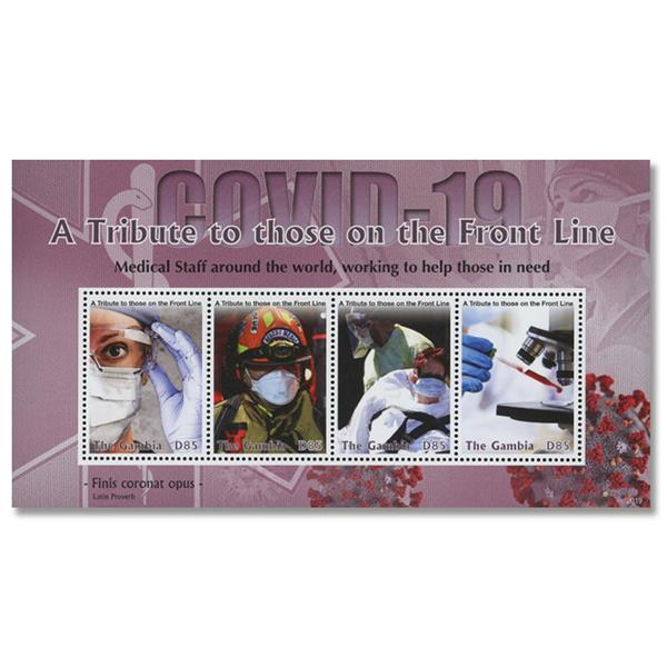 2020 D85 COVID-19: A Tribute to Front Line Workers, Mint Sheet of 4 Stamps, Gambia