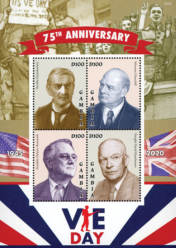 2020 D100 75th Anniversary of VE-Day, Mint Sheet of 4 Stamps, Gambia