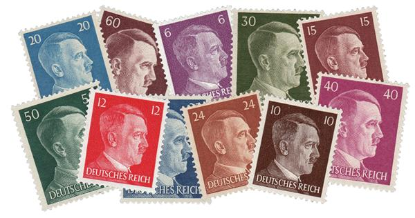 1941-44 Germany, Set of 11 Hitler Heads