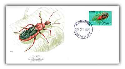 1992 Ghana 200c Anthia Thoracica Beetle FDC