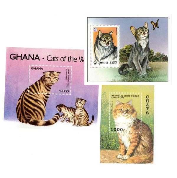 Cats Souvenir Sheets, Mint, Set of 3, Worldwide