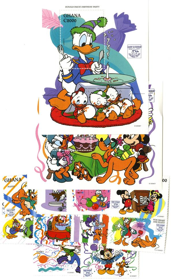 1995 Disney Friends Celebrate Donald Ducks 60th Birthday, Mint, Set of 10 Stamps and 2 Souvenir Sheets, Ghana