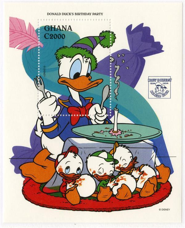 1995 Disney Friends Celebrate Donald Ducks 60th Birthday, Mint Souvenir Sheet, Ghana