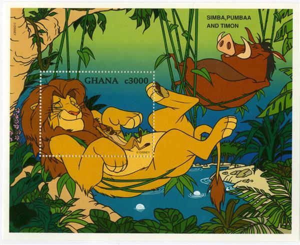 1996 Disneys Tribute to Best Friends, Mint Souvenir Sheet, Ghana