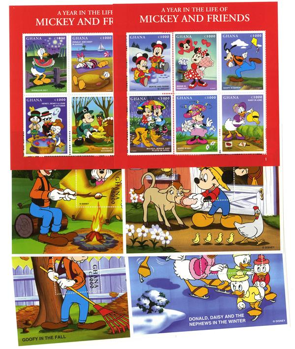 1998 Disney Celebrates A Year in the Life of Mickey and Friends, Mint, 2 Sheets and 4 Souvenir Sheets, Ghana