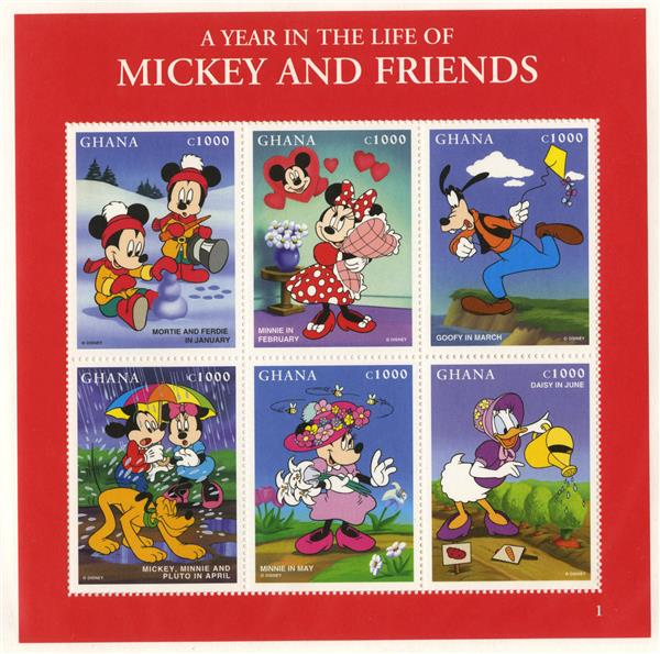 1998 Disney Celebrates A Year in the Life of Mickey and Friends, Mint,  Sheet of 6 Stamps, Ghana