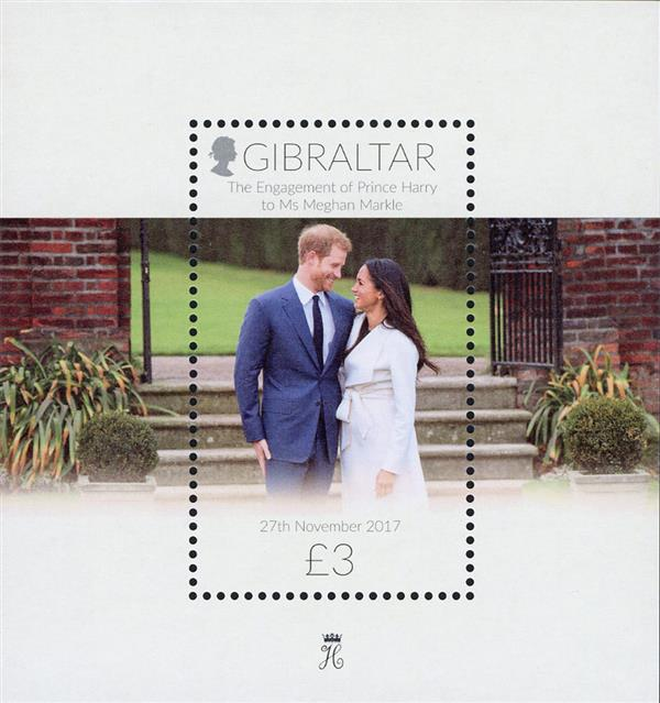 2018 £3 Engagement of Prince Harry to Ms. Meghan Markle souvenir sheet of 1