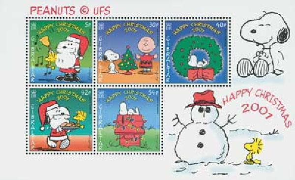 Item #M8103 – 2001 Peanuts Christmas stamps.