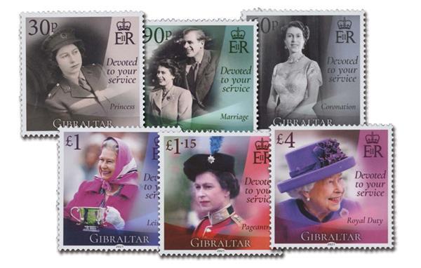 2021 Queen Elizabeth II 95th Birthday, Mint, Set of 6 Stamps, Gibraltar