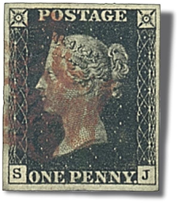 1840 Penny Blk, closely trimmed w/ album