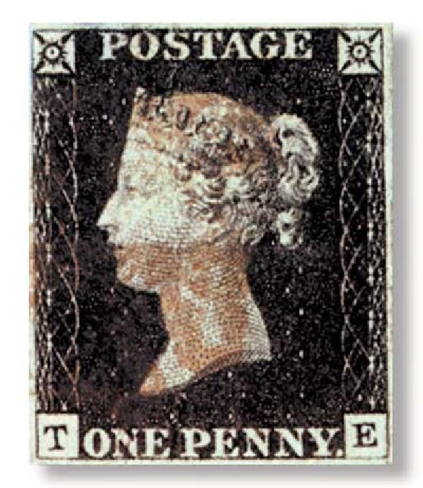 1840 Penny Blk, 1-2 margin w/ album