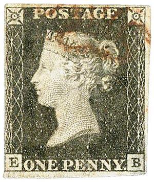 1840  Penny BLK, 2-3 margin w/ album