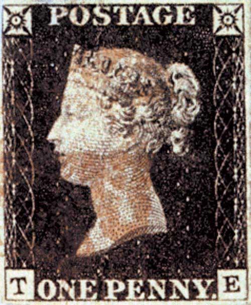 1840 Penny Blk, 3-4 margin w/ album