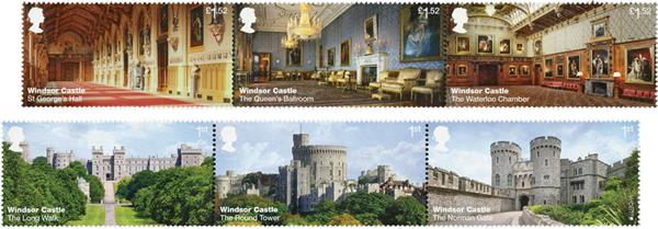 2017 Great Britain Winsdor Castle: strip of 3 Exterior Stamps & strip of 3 Interior Stamps
