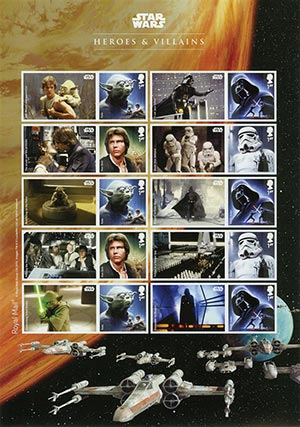 "2017 Great Britain Star Wars ""Heroes & Villains"" 40th Anniversary, Mint Sheet of 10 Stamps"