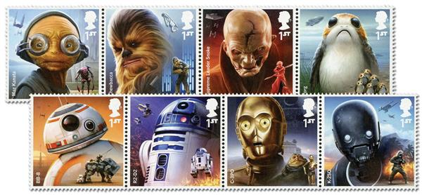 2017 Star Wars Characters, Mint, Set of 8 Stamps, Great Britain