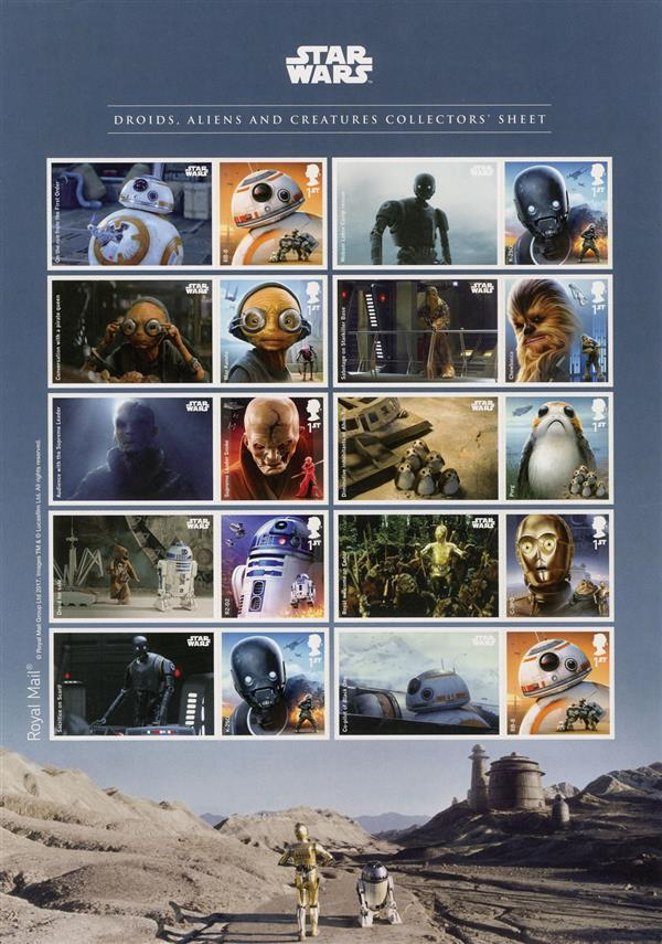 2017 Star Wars Droids, Aliens & Creatures Collector's Sheet of 10