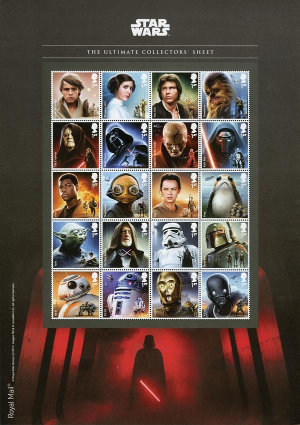 2017 Star Wars Ultimate Collectors Mint Sheet of 20 Sstamps, Great Britain