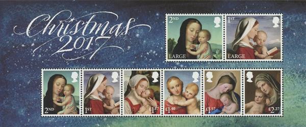 2017 Madonna & Child: Christmas sheet of 8 stamps