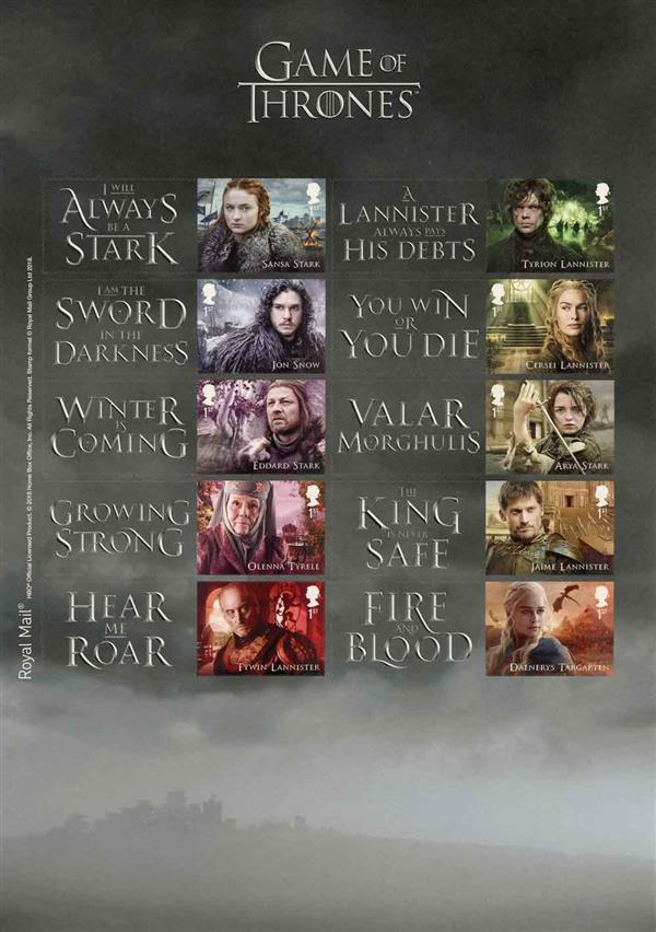 2018 Game of Thrones Collectors Sheet of 10 stamps
