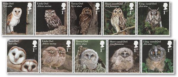2018 Owls set of 10 stamps