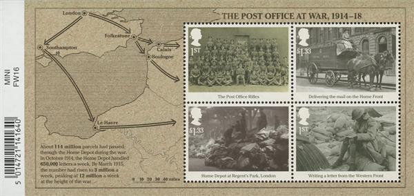 2016 1st The Post Office at War 1914-18 sheet of 4
